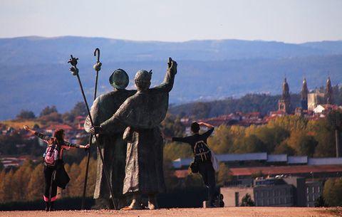 Pilgrims near Santiago de Compostela
