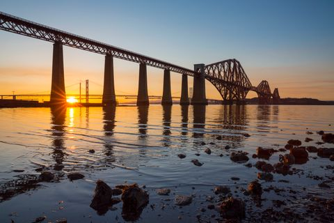 Forth Bridge at sunset, South Queensferry